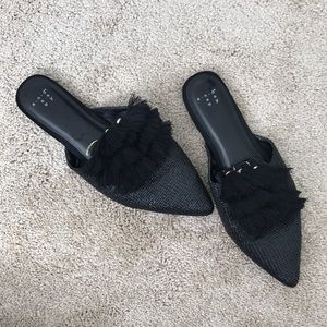 Black Mule with Pointy Toe and Tassels